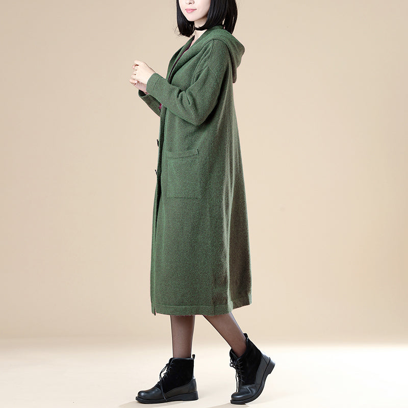 Women Pockets Buttons Long Sleeve Hoodies Green Coat - Buykud