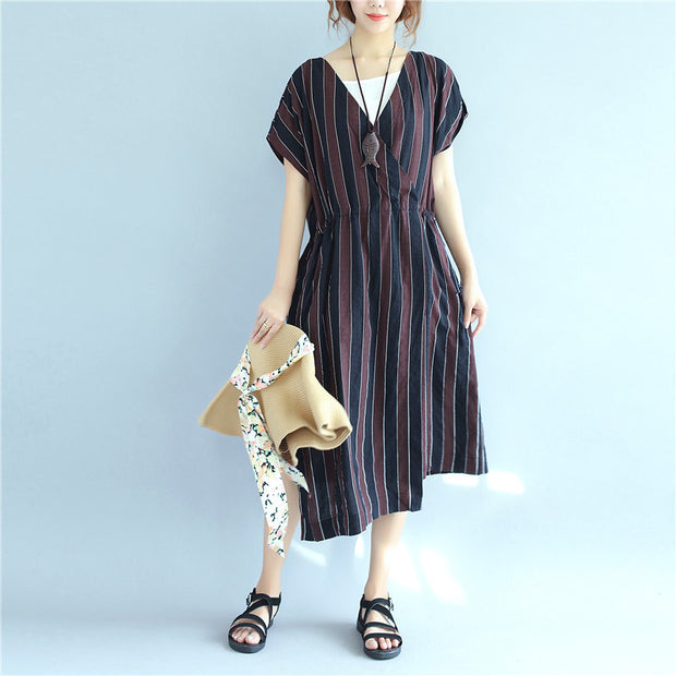 Stripe Women Loose Summer Irregular Splitting String Wine Red Dress - Buykud