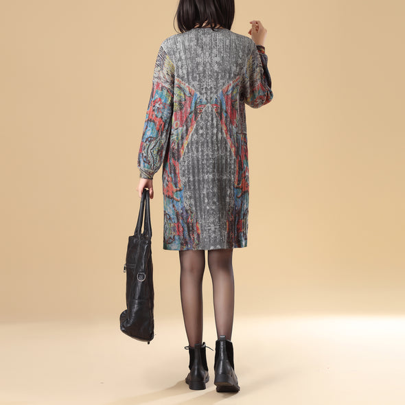 Colorful Printing Women Single Breasted Long Sleeve Sweater Dress - Buykud