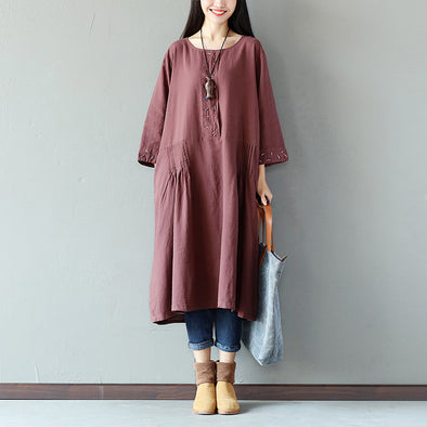 Folded Women Cotton Loose Casual Purple Dress - Buykud