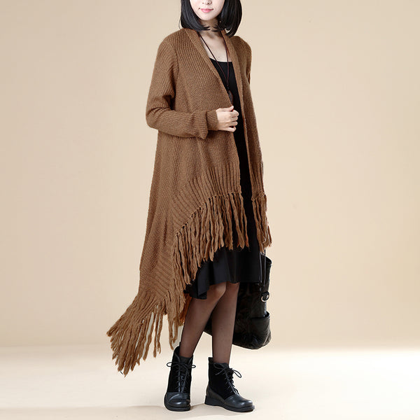 Women Khaki Long Sleeve Tassel Cardigan Coat - Buykud