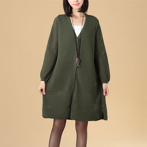 Chic Jacquard Women Small Holes Splitting Green Knitted Sweater Dress - Buykud