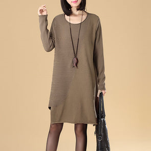 Stylish Splicing Women Round Neck Long Sleeve Blue Khaki Sweater Dress - Buykud
