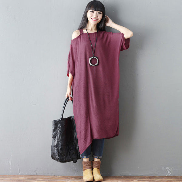 Cotton Summer Women Loose Thin Plain Splitting Red Shoulder Dress