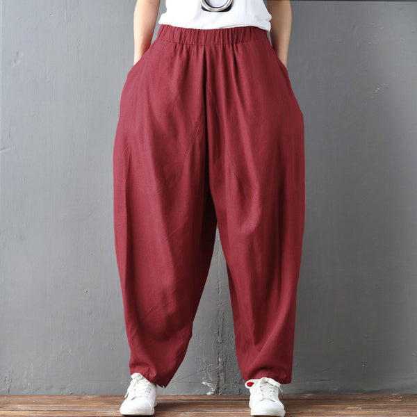 Baggy Casual Cotton Linen Women Red Pants