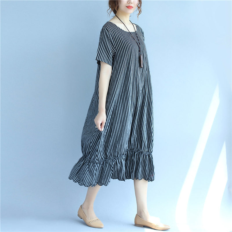 d2b8a6cdfb15f Black And White Stripes Round Neck Short Sleeve Pocket Loose Women Dress -  Buykud