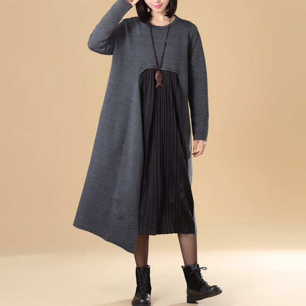 Chic Jacquard Patchwork Women Autumn Gray Folded Sweater Dress - Buykud