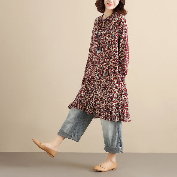 Literature Floral Printing Long Sleeves Strap Pleated Women Dark Red Dress - Buykud