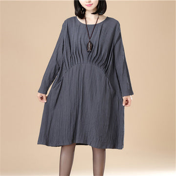 Round Neck Pleated Elegant Women Stripe Split Gray Dress - Buykud