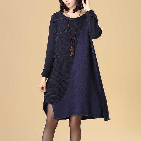 Stylish Splicing Women Round Neck Long Sleeve Blue Knitted Sweater Dress - Buykud