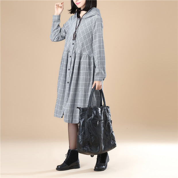 Lattice Long Sleeves Hoodie Casual Women Pleated Black Dress - Buykud