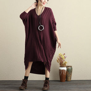 Women Autumn Stripe Irregular Long Sleeve V-Neck Dress - Buykud