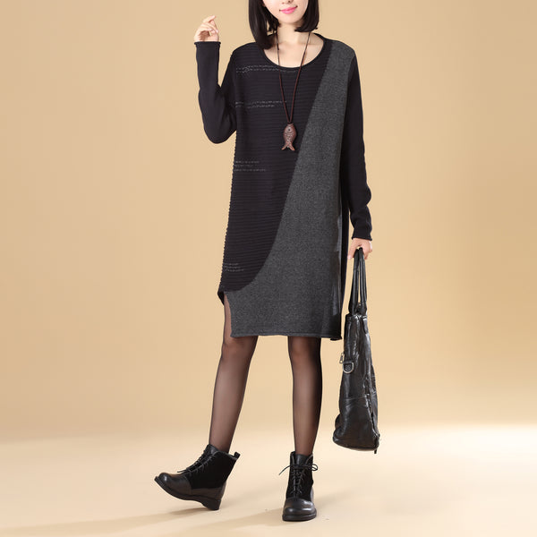 Stylish Splicing Women Round Neck Long Sleeve Black Knitted Sweater Dress - Buykud