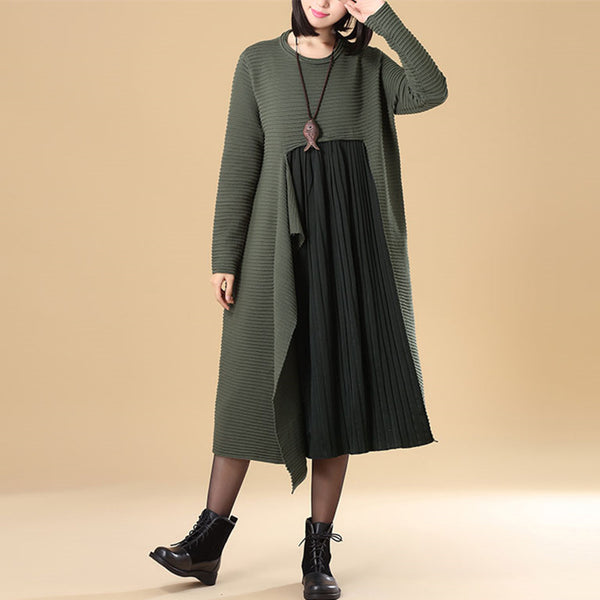 Chic Jacquard Patchwork Women Autumn Green Folded Sweater Dress - Buykud