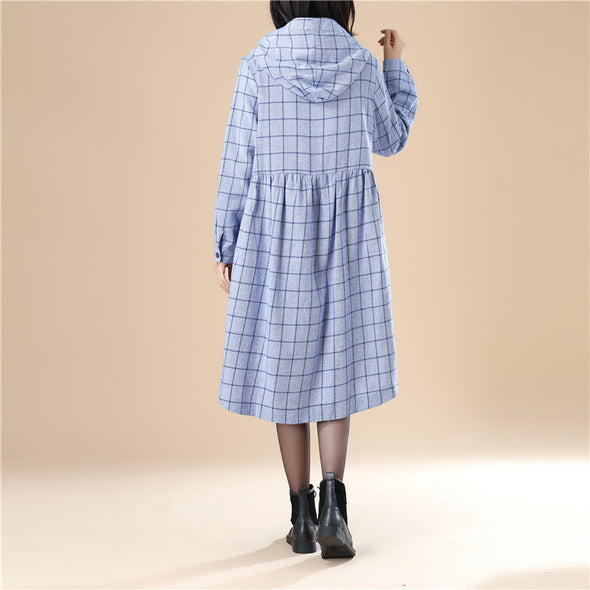 Lattice Long Sleeves Hoodie Casual Women Pleated Blue Dress - Buykud