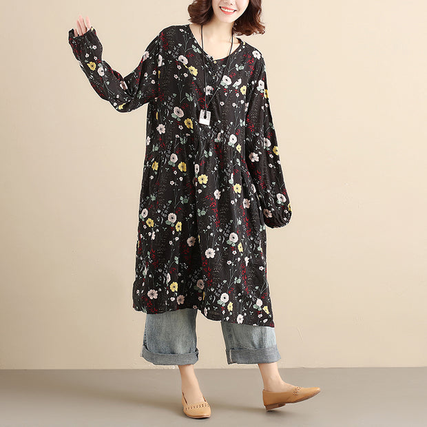 Literature Retro Women Printing Cotton Long Sleeves Black Dress - Buykud