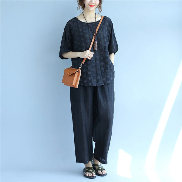 Chic Embroidery loose Women Black Suits(Shirt+Pants)