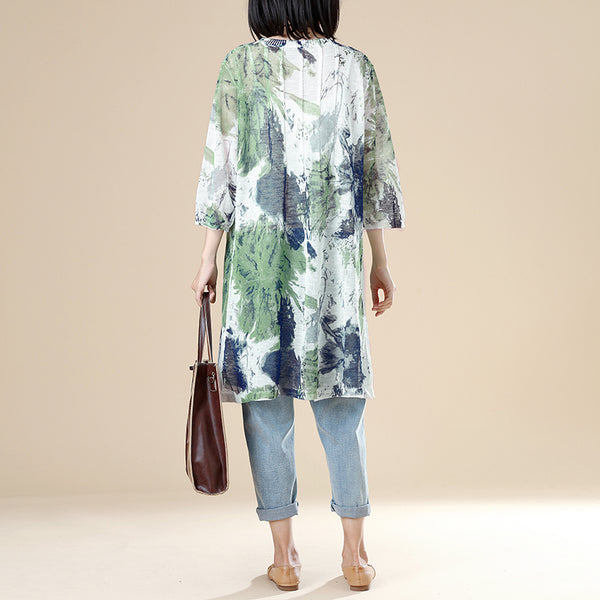 Single Breasted Three Quarter Sleeve Translucent Long Shirt - Buykud