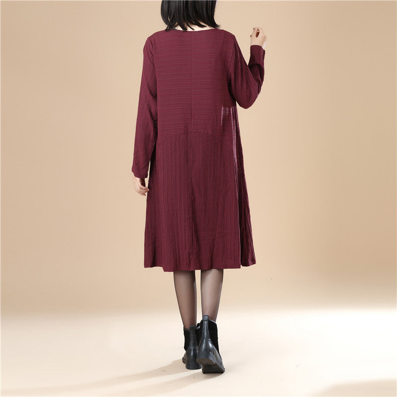 Round Neck Pleated Elegant Women Stripe Split Wine Red Dress - Buykud