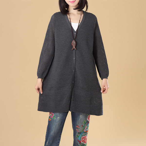Chic Jacquard Women Small Holes Splitting Gray Knitted Sweater Dress - Buykud
