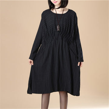 Round Neck Pleated Elegant Women Stripe Split Black Dress - Buykud