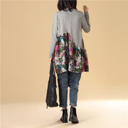Autumn Women Floral Printing Long Sleeve Splicing Sweater Dress - Buykud