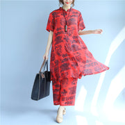 Casual Printing Linen Women Red Suits(Shirt+Pants) - Buykud