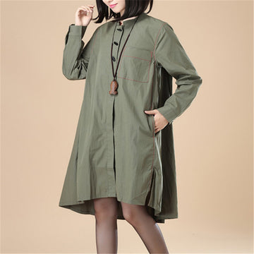 Stand Collar Cotton Chinlon Stylish Women Split Army Green Dress - Buykud