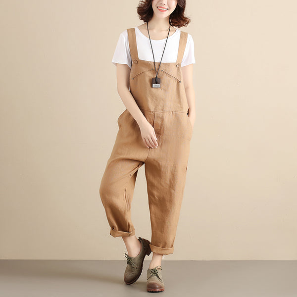 Women Cotton Literature Sleeveless Side Buttons Khaki Jumpsuit - Buykud