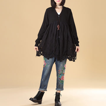Elegant Women Embroidered Patchwork Long Sleeve Black Pleated Sweater Dress - Buykud