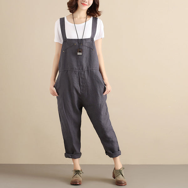 Women Cotton Literature Sleeveless Side Buttons Blue Gray Jumpsuit - Buykud