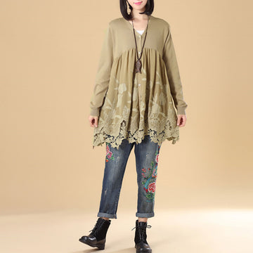 Women Embroidered Long Sleeve Khaki Pleated Sweater Dress - Buykud