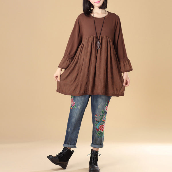 Elegant Women Round Neck Long Sleeve Splicing Coffee Knitting Sweater - Buykud