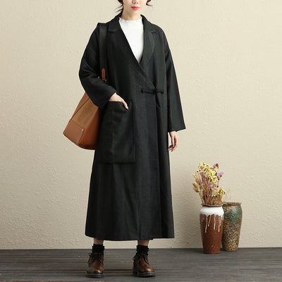 Women V Neck Polo Collar Side Slit Winter Long Woolen Coat - Buykud