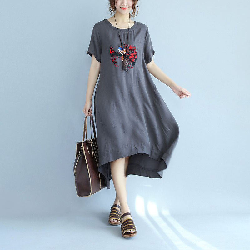 Women Embroidered Loose Casual Short Sleeve Gray Dress - Buykud