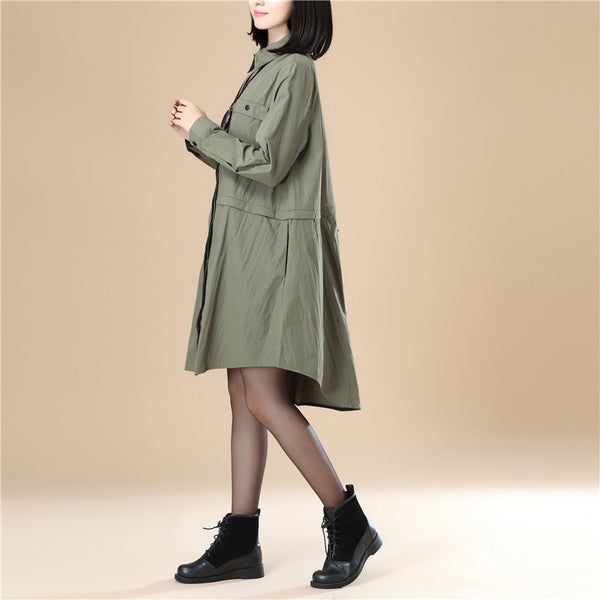 Chic Women Polo Collar Loose Elastic Band Army Green Shirt - Buykud