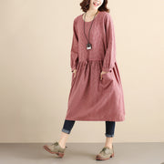 Double Pocket Lattice Women Loose Lattice Long Sleeves Pink Dress - Buykud