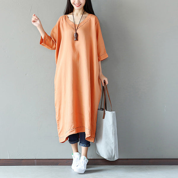 Casual Loose Linen V Neck Women Orange Dress - Buykud