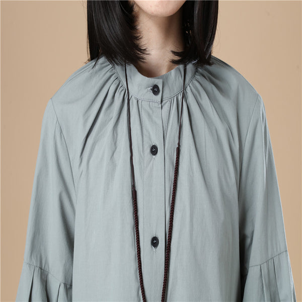 Autumn Women Casual Loose Split Puff Sleeves Green Shirt - Buykud