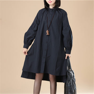 Autumn Women Casual Loose Split Puff Sleeves Black Dress - Buykud