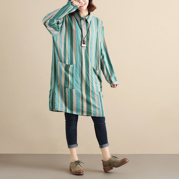 Green Stripe Literature Polo Collar Long Sleeves Loose Women Dress