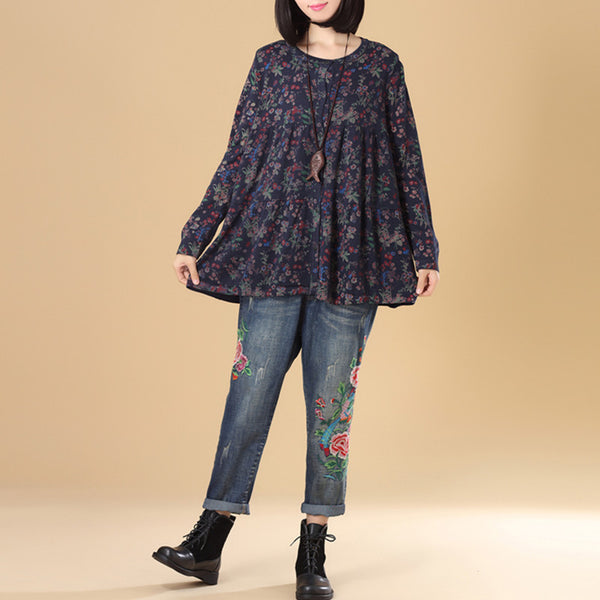 Women Floral Printing Single Breasted Long Sleeve Navy Blue Knitted Sweater - Buykud
