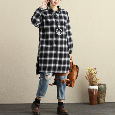 Women Autumn Polo Collar Single Breasted Long Sleeve Lattice Coat - Buykud