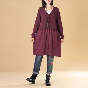 Women Single Breasted Long Sleeve Splicing Wine Red Sweater Dress - Buykud