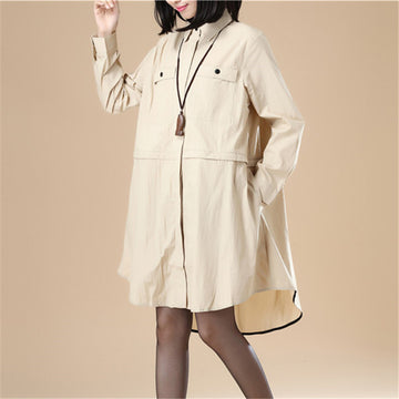 Chic Women Polo Collar Loose Elastic Band Khaki Shirt - Buykud