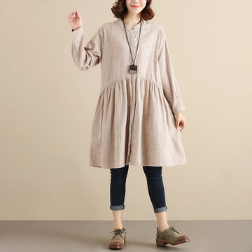 Splicing Pleated Literature Single Breasted Loose Beige Lattice Women Dress - Buykud