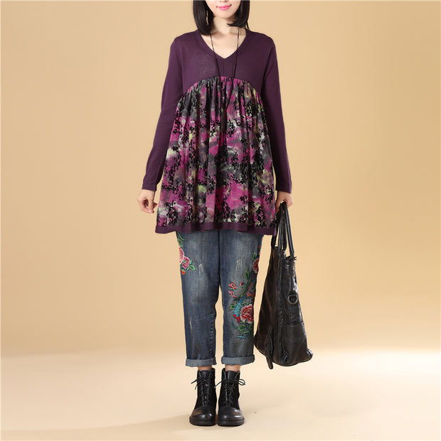 Women Autumn V Neck Long Sleeve Purple Printing Sweater Dress - Buykud