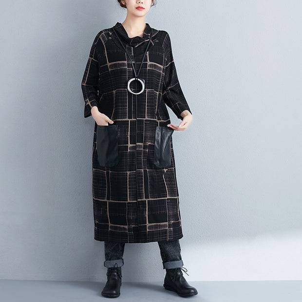 Mock Neck Three Quarter Sleeve Women Loose Dress - Buykud
