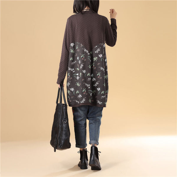 Literature Women Floral Printing Splicing Single Breasted Coffee Sweater Dress - Buykud