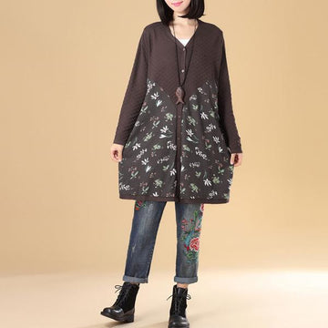 Women Floral Printing Splicing Single Breasted Sweater Dress